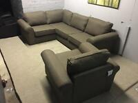 Brand new brown corner sofa and matching armchair