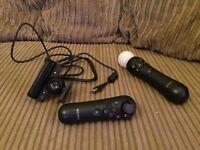 Sony PlayStation 3 Move Motion Wireless Controller, Move Navigation Wireless Controller & Eye Camera