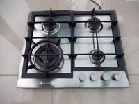 Baumatic stainless steel 60cm 4 gas hob with cast iron pan supports and wok burner