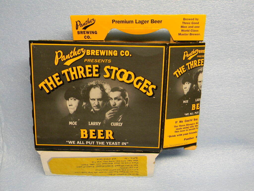 VINTAGE THREE STOOGES MOE LARRY CURLY BEER 6 PK CARRIER PANTHER BREWING UTICA NY
