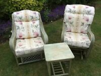 Garden Conservatory Twin Chair (one Rocker) & Table Set with Matching Cushions