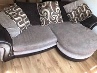4 Seater Pillow Back Fabric Sofa including Storage Footstool