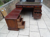Antique reproduction 5X3ft Corner Pedestal Desk with Sliding Desk