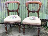 Two beautiful antique balloon back embroidered chairs