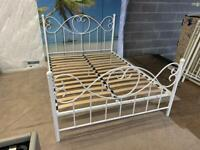 New exdisplay double 4ft6 white metal bed frame