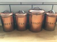 Tea coffee sugar biscuit bronze kitchen canisters