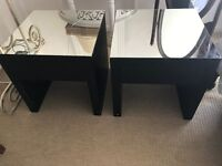 2 x Black Mirrored (Removeable) Bedside Tables