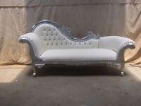 NEW 3 PIECE Paris Chaise Longue French Sofa set - Silver & White - Luxury Asian Wedding Furniture