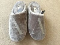 Ladies / girls Next grey slip on furry slippers with a glitter 'A' on Brand New size S