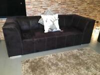 3&2 black suede leather sofas / can deliver