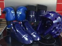 Kids taequando sparring kit, includes helmet, gloves, shin guards and shoes