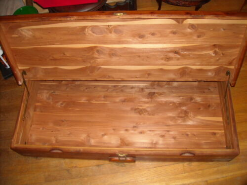 Antique Vintage Rolling Under Bed Wood Cedar Chest Trunk . BEAUTIFUL~!