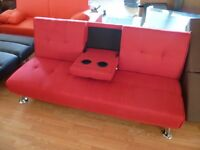 Brand New 3 Seater Red Fabric Sofa Bed inc. 2 Drink Holders (FREE LOCAL DELIVERY!!!)