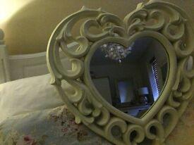 Cream heart wall mirror