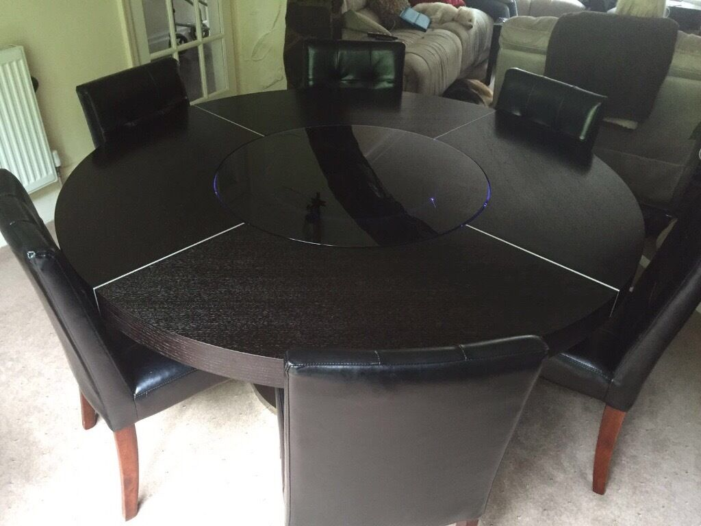 Round Dining Table For 6 With Lazy Susan large round black oak dining table, with led lights and lazy susan