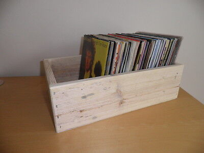 """2 x Wooden Storage Boxes for 7"""" Vinyl Records/unpainted/made from reclaimed wood"""