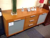 Large Solid Wood/Glass Sideboard