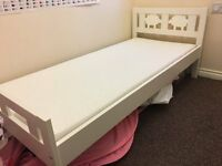 Kritter - IKEA Kids Bed frame with slatted bed base and mattress, White - only 4months old.