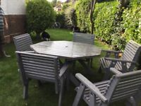 Solid oak garden table with 5 chairs