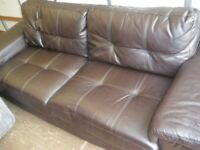 LARGE 2/3 SEAT BROWN LEATHER SOFA at Haven Housing Trusts's charity shop