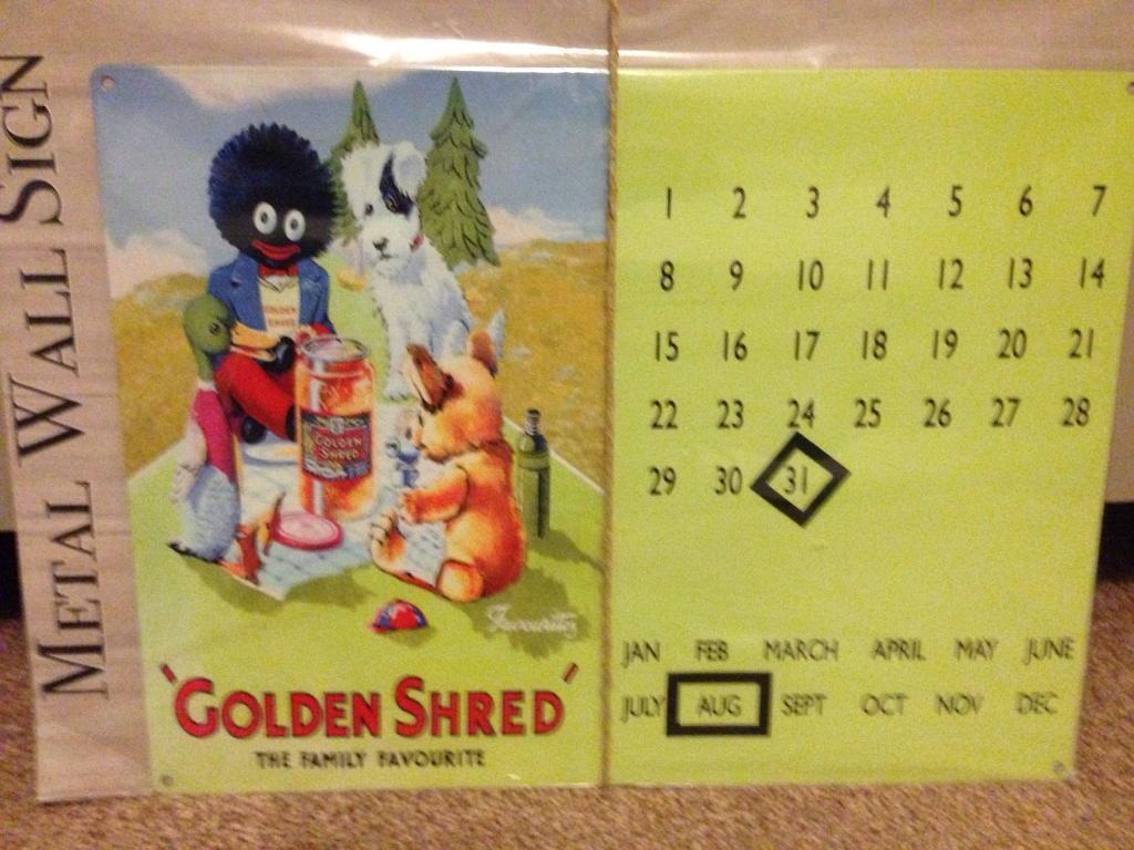 Metal Golden Shred wall calendar