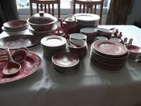 dinner set chinese crockery 113 pieces, 6 piece place setting for12plus serving bowls and platters