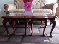 COFFEE TABLE AND TWO MATCHING SMALLER SIDE TABLES SET.