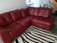 Red Leather SCS corner sofa