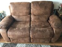 Two seater sofa and matching chair all recline