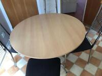 Kitchen round table and 4 metal chairs