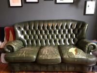 Green Leather Chesterfield Style sofa