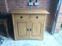 Oak cabinet and side tables