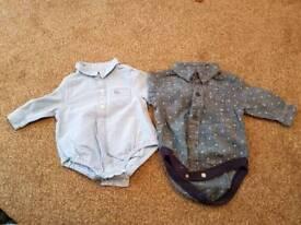 2 x Next Baby boy shirt vest 0-3 months