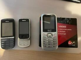 2 x Nokia and 1 x VM565 mobiles