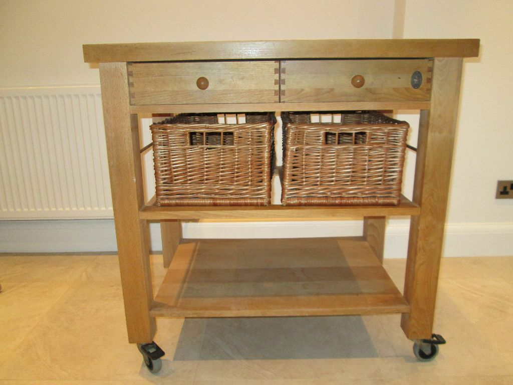Table Servus Solid Beech Butcher 39 S Block Kitchen Trolley And Wicker Baskets In Sutton