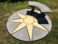 New Paving Slabs : Star Patio Circle & Bench Combo : 1.8m dia : buff Charcoal