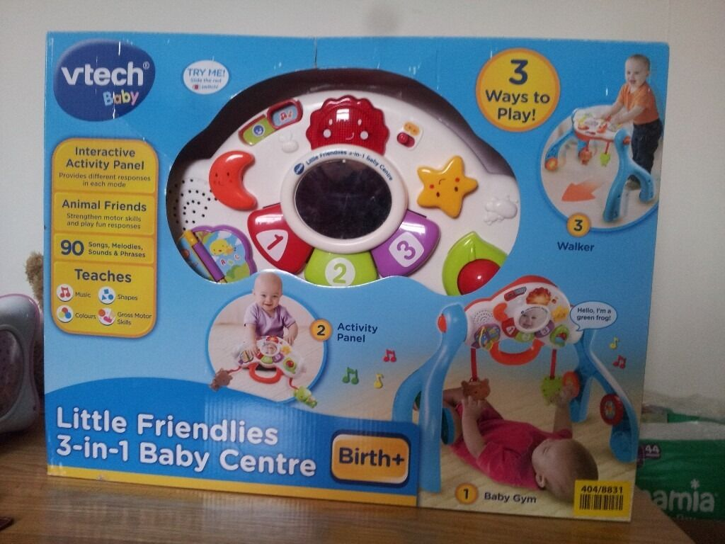 V tech Little Friendlies 3 in 1 baby centrein Redditch, WorcestershireGumtree - Vtech 3 in 1 Friendlies Baby Activity Centre kept our little girl entertained for hours .Can be used as a play gym, play centre and a walker when they are starting to get around independently. Has been put back in original box for ease of...