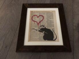 Banksy Prints - set of 4 Banksy prints in frames.