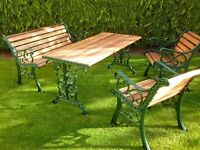 Refurbished Garden Table Bench Chairs.