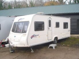 R&K CARAVANS 2008 BAILEY PAGEANT BURGUNDY FIXED BED, 12 MONTHS WARRANTY