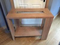 Oak effect consol table