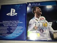 FIFA 18 FOR SALE, SEALED WITH RARE PLAYERS PACK + 14 DAY FREE PLAYSTATION PLUS TRIAL