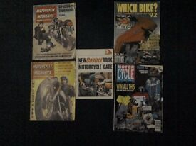 5 OLD MOTORBIKE MAGAZINES 2 FROM 1968,2 FROM 1992 and 1979 Castrol book