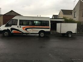 Ford transit 15 seater minibus and box trailer