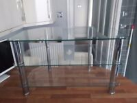 T V stand glass / chrome.