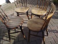 Retro Folding Table and Wooden Chairs