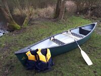 3 man open Canadian canoe - with 2 x paddles and jackets - VGC
