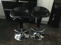 Pair of black and silver bar stools. Excellent condition. From smoke free home.