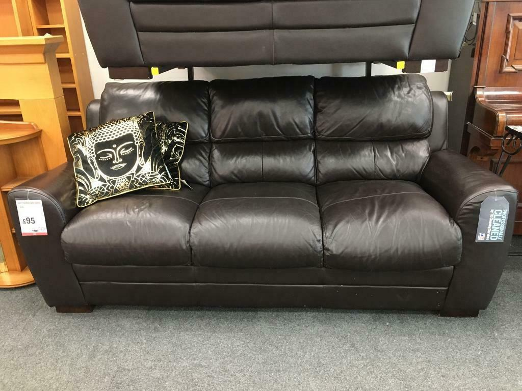 Bhf Sleek Black Leather 3 Seater Sofa