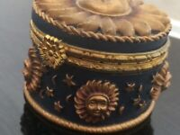 SMALL SUN AND MOON RESIN STORAGE TRINKET BOX GOTHIC ASTROLOGY Blue GOLD